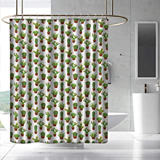 Cactus Shower Curtain with Hooks Abstract Floral Pattern with Vases and Pots Botany Spring Season Cartoon Bathroom Decoration W55 x L86 Green Brown Marigold