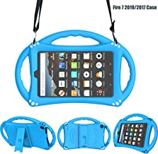 TIRIN Silicone Case for Fire 7 2019/2017/2015 - Shoulder Strap Shockproof Kid-Proof Handle Stand Case for All-New Amazon Fire 7 Tablet 7