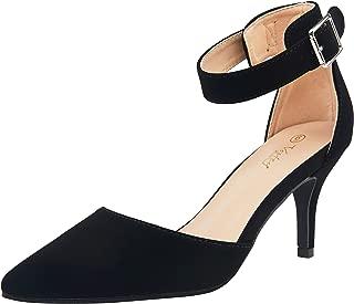 VOSTEY Women Heels Pointed Toe Low Heel Dress Shoes Ankle Strap Pumps (8.5,Black Nubuck)