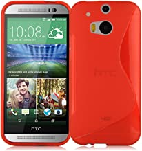 Cadorabo Case Works with HTC ONE M8 (2. Gen.) Ultra Slim TPU Silicone Cover in Candy Apple RED (Design S) – Shockproof Scratch Resistant Gel Case Protective Shell Bumper Skin Back Cover
