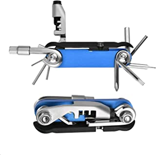 Bicycle Multi Tool with Chain Splitter Cutter Breaker, 16 in 1 Bike Repair Tool Kits Set with 1pc Detachable Tire Lever, Blue