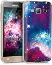 kwmobile Case for Samsung Galaxy J3 (2016) DUOS - TPU Silicone Crystal Clear Back Case Protective Cover IMD Design - Multicolor/Dark Pink/Black