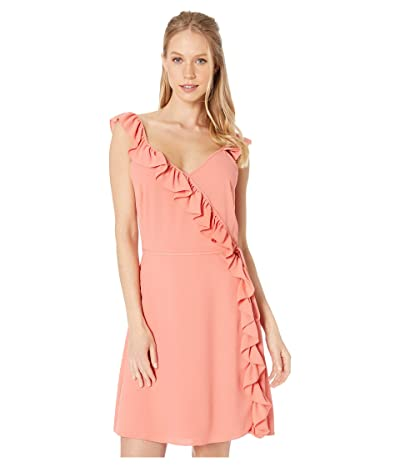 1.STATE Wrap Front Ruffled Edge Dress (Coral Coast) Women