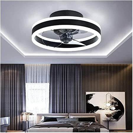 Ventilateur Au Plafond Avec Lampe,Moderne Silencieux LED Fan Plafonnier,Modes Lumière À 3 Couleurs Et Vitesse Du Vent À 3 Vitesses Salon Ventilateur Éclairage,Avec Télécommande,Noir