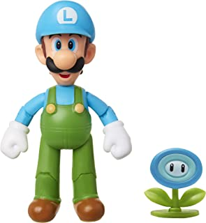 "SUPER MARIO Nintendo Collectible Ice Luigi 4"" Poseable Articulated Action Figure with Ice Flower Accessory, Perfect for Kids & Collectors Alike! for Ages 3+"