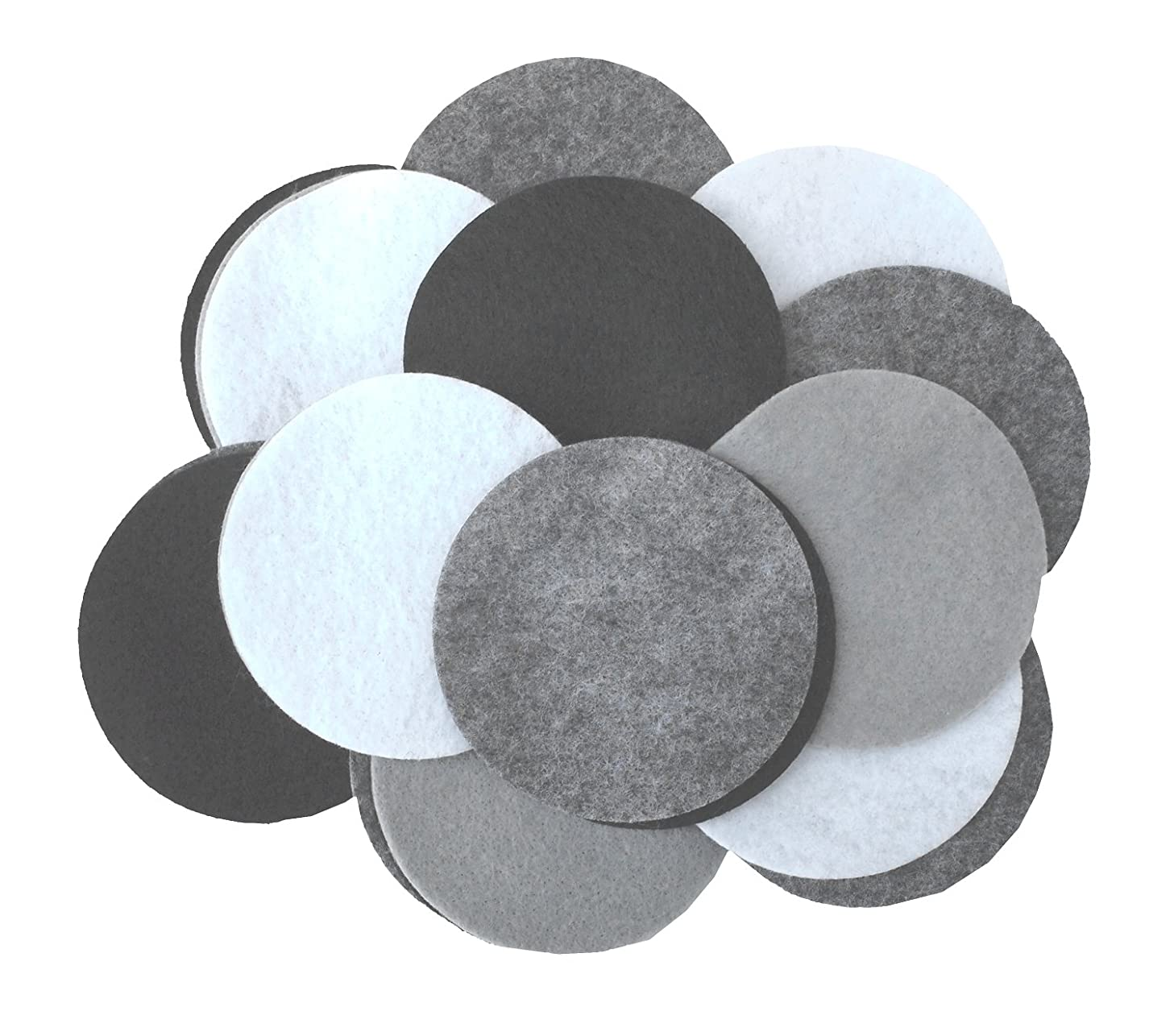 Playfully Ever After 3 Inch 30pc Felt Circles Color Combo Pack with Black, Gray, Charcoal, White