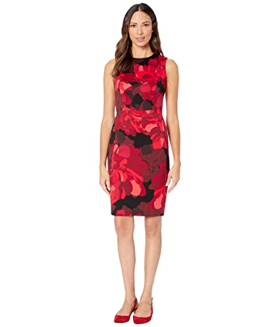 Calvin Klein Floral Print Sheath Dress (Red Multi) Women