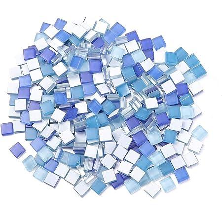 Milisten 300 Pcs Carreaux de Mosaïque Carré Cristal Mosaïque Pierres Vitrail Carreaux pour Cadres Photo Bricolage Artisanat Décoration Bleu Royal