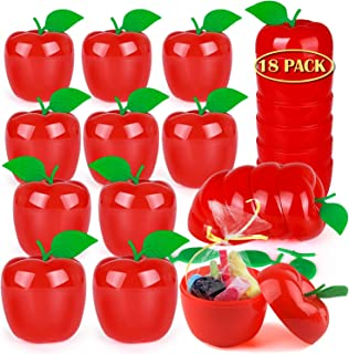 OKROSTOY 18 Pack Plastic Apple Containers Toy Filled Bobbing Apples, Apple Party Favors Decorations for Kids
