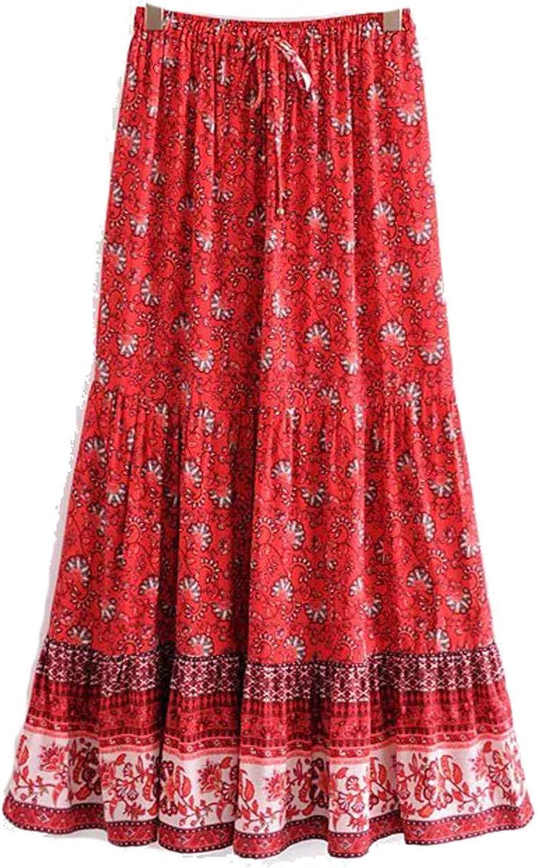 Summer Beach Floral Print Skirt Women High Elastic Waist Maxi A-Line Boho Skirt