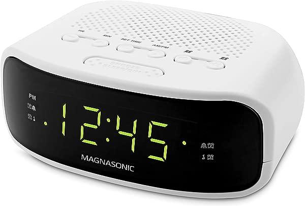 Magnasonic Digital AM FM Clock Radio With Battery Backup Dual Alarm Sleep Snooze Functions Display Dimming Option White EAAC201