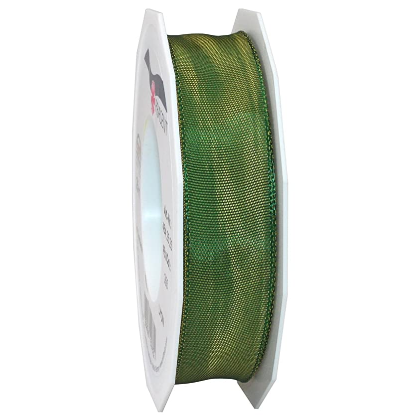 Morex Ribbon French Wired Lyon Ribbon, 1-Inch by 27-Yard Spool, Moss