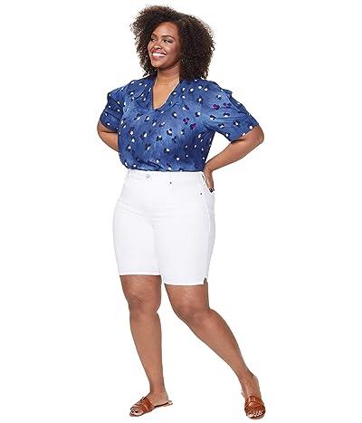 NYDJ Plus Size Plus Size Ella Shorts with Side Slits in Optic White (Optic White) Women