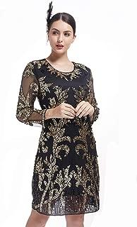 KILOLONE 1920s Vintage Deco Beaded Sequin Embellished Flapper Dress Roaring 20s Beaded Dress Evening Prom