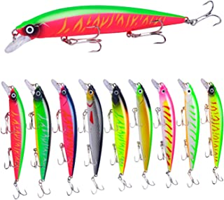 ZWMING Minnow Fishing Lures in Double Layer Tackle Box,3D Eyes Lifelike Hard Bait Swimbait for Freshwater Saltwater Fishing