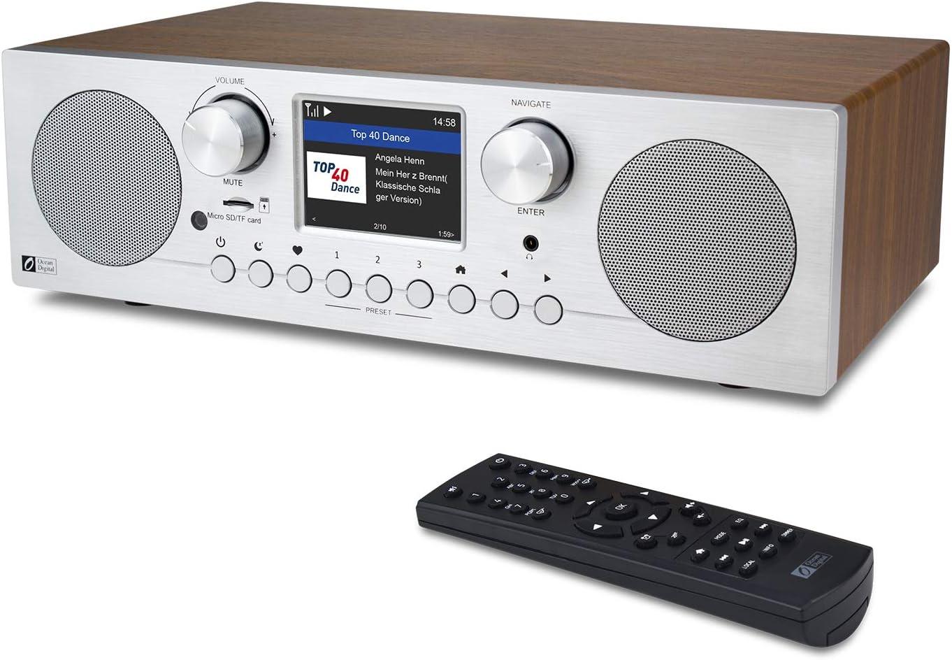 Ocean Digital WR-800F - Radio por Internet WiFi / FM con doble despertador, temporizador, reproducción de tarjetas Micro SD / TF y pantalla a color de 2,8 pulgadas, soporte UPnP y DLNA