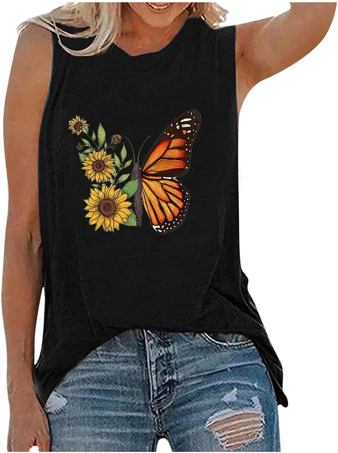 USYFAKGH O Neck Tank Tops for Women Casual Sleeveless Shirts Loose Fit