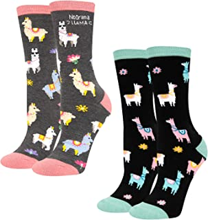 HAPPYPOP Women Book Reading Llama Socks Gift Pack Animal School Dental Socks