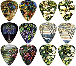 Cool Guitar Picks for Men Women (12-Packs)- Tiffany Stained Glass Famous Art - Stocking Stuffers Mom Dad Boys Girls Kids Musician Guitar Gifts