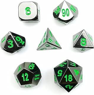 Deluxe Gloss Black Metal 7pcs Polyhedral Dice Set, Black Metal RPG Game Dice Metal 7pcs Set of d4 d6 d8 d10 d12 d20 d%