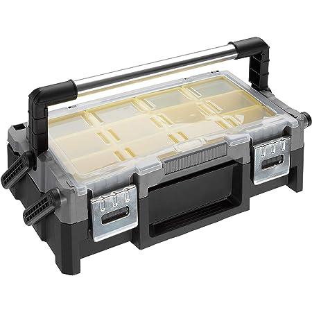 TecTake 403594 Boîte à Outils Vide Coque Robuste 18 Compartiments 45,5 x 23,5 x 14,5 cm Poignée Rabattable