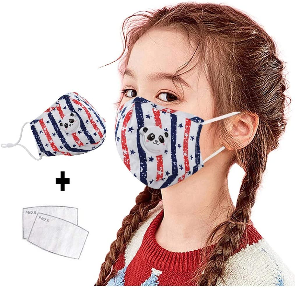 Laotie Face Bandanas Cotton with Breathing Valve with Activated Carbon Filter Replaceable Filters Haze Dust Face Health for Kids