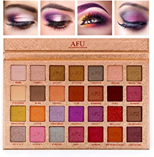 AFU CHARM Series Deep Sensuous Eyeshadow Palette Matte + Shimmer 28 Colors Makeup Highly Pigmented Professional Natural Bronze Nudes Neutral Smokey Blendable Waterproof Eye Shadows Cosmetic