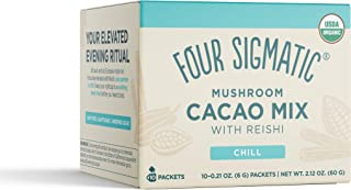 Four Sigmatic Mushroom Hot Cacao with Reishi, Organic Reishi Mushroom Powder - Natural Calm, Relax, Sleep - Vegan - 10 Count