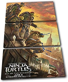 Bold Bloc Design - Ninja Turtles TMNT Poster Movie Greats 120x80cm TREBLE Canvas Art Print Box Framed Picture Wall Hanging - Hand Made In The UK - Framed And Ready To Hang