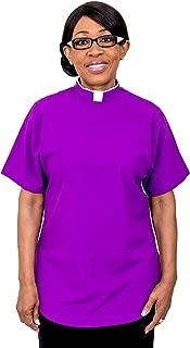 Ladies Short Sleeves TAB Clergy Blouse (Roman Purple)