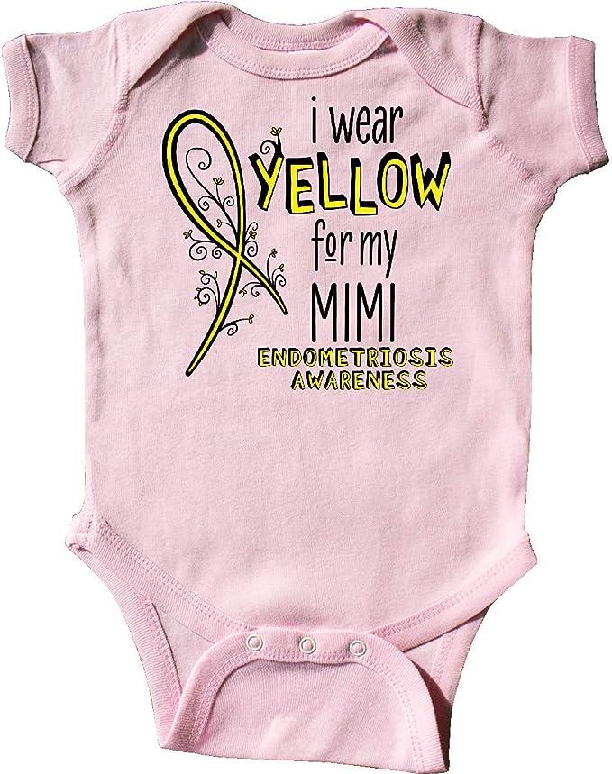 inktastic I Wear Yellow for My Mimi Endometriosis Awareness Long Sleeve Creeper