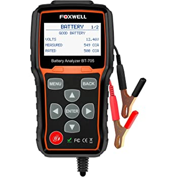 Battery Tester FOXWELL BT705 Automotive 100-2000 CCA Battery Load Tester, 12V 24V Car Cranking and Charging System Test Scan Tool Digital Battery Analyzer for Cars and Heavy Duty Trucks