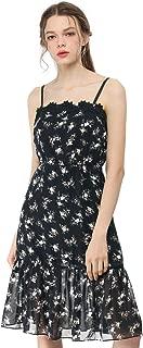 Women's Chiffon Spaghetti Strap Midi Floral Dress