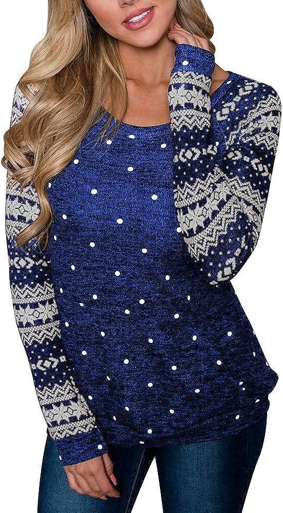 Christmas Women's Long Sleeve Max 58% OFF Snowflake Sweatshirt Pul Patchwork Trust