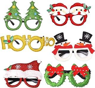 Tweal Gafas de Navidad,6 Piezas Gafas de Fiesta Decoración Accesorios Photobooth para Niños y Adultos Decoración de Fiesta...