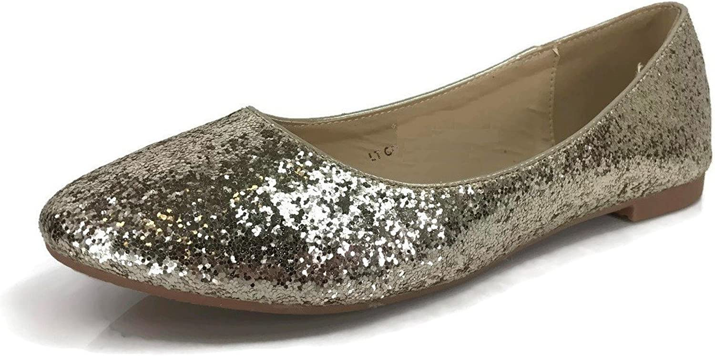 Womens Crystal Rhinestone Coverered Ballet Flats Slip On Glitter shoes