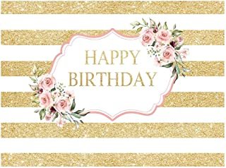Allenjoy Pink Rose Golden Happy Birthday Backdrop Gold White Stripes Women 20th 30th 40th 50th Bday Party Decoration Girls Sweet 16 Cake Table Banner Vinyl 8x6ft Photo Booth Background