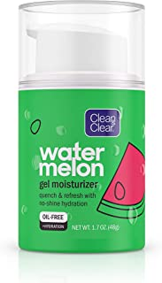 Clean & Clear Hydrating Watermelon Gel Facial Moisturizer, Oil-Free Daily Face Gel Cream to Quench & Refresh Dry Skin, Lightweight & No-Shine, 1.7 oz
