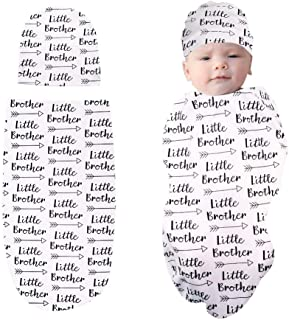 TANOFAR Newborn Swaddle Blanket with Beanie Set,Soft Stretchy Cocoon Sack Baby Boys and Girls(Little Brother)