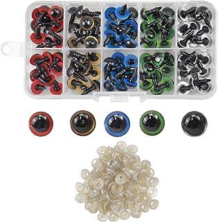 AvoDovA 100PCS Colorés Yeux de Securite en Plastique, 10MM Coloré Yeux avec Rondelles, Yeux en Plastique Yeux de Poupée po...