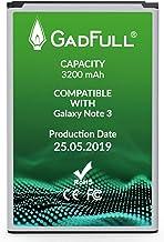 GadFull Batteria compatibile con Samsung Galaxy Note 3 | 2019 Data di produzione | Corrisponde al EB-B800BE originale | Compatibile con GT-N9000 | GT-N9005 | GT-N 9006 | GT-N9009