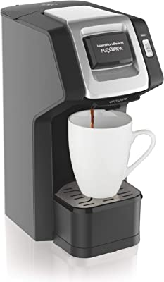 Hamilton Beach (49974) Single Serve Coffee Maker, Compatible with pod Packs and Ground Coffee, Flexbrew, Black (Renewed)