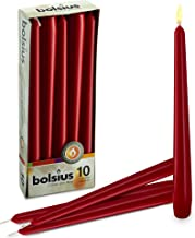 BOLSIUS Long Household Red Taper Candles - 10-inch Unscented Premium Quality Wax - 7.5 Hour Long Burning Dripless Candles Bulk Pack of 10 for Home Decor, Wedding, Parties and Special Occasions