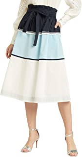 Iconic Women's 2091183 SS24CLRBLKSK Asymmetric Woven Skirt, Blue