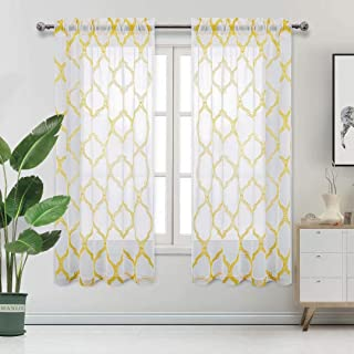 DWCN Moroccan Tile Embroidered Sheer Curtains - Faux Linen Rod Pocket Semi Voile Drapes Bedroom and Living Room Window Curtains, Set of 2 Panels, 52 x 63 Inch Length, Yellow