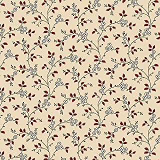 Marcus Fabrics Heritage Red and Green Judie Rothermel Tan Floral Vine