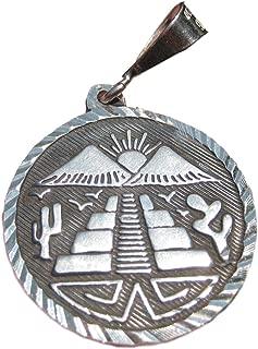 Everest Crystal Art 925 Silver Chichen Itza Pyramid Pendant Necklace Taxco Mexico A2744