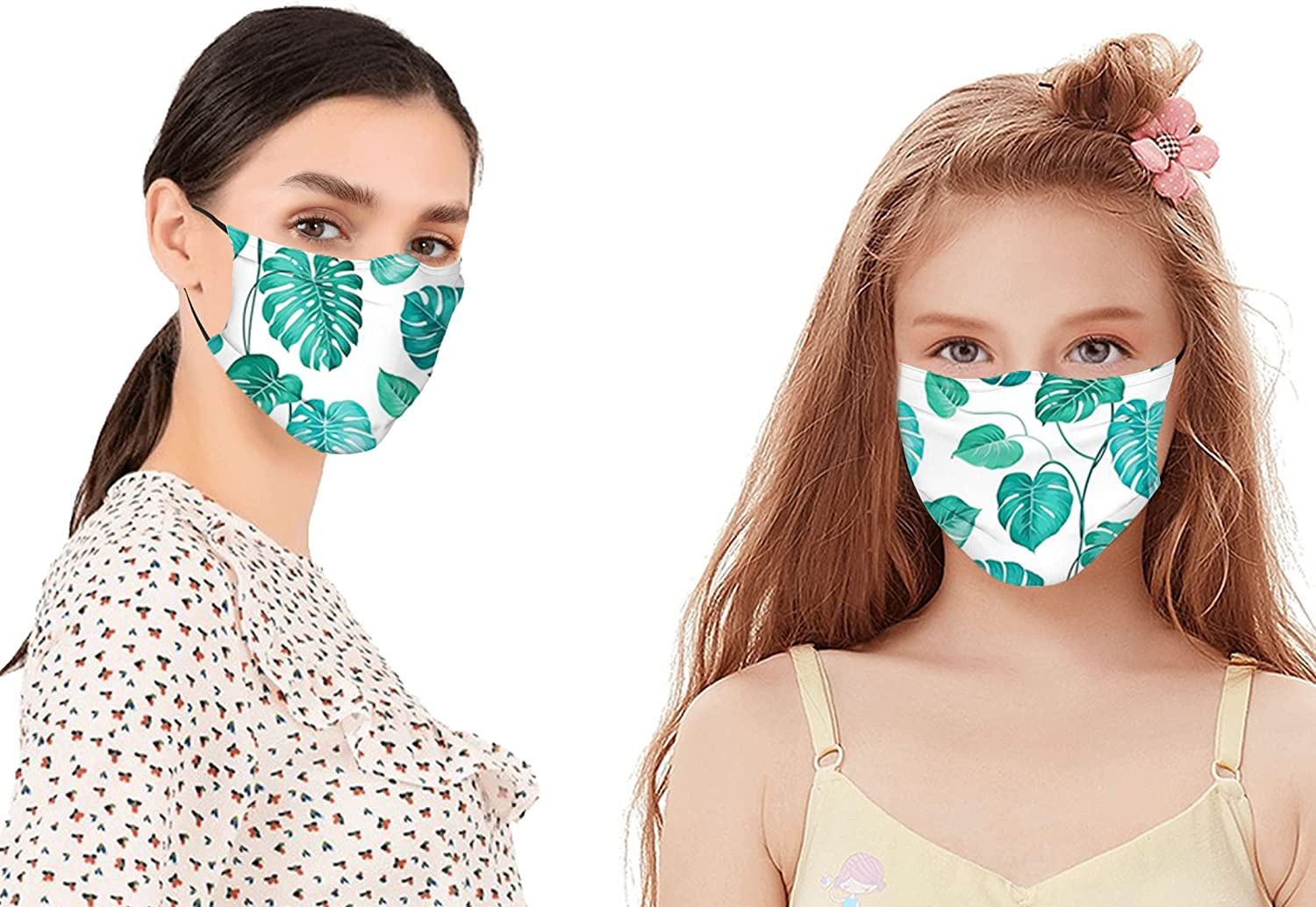 Tropical Palm Tree Leaves Exotic Hawaiian Foliage Rainforest Jungle Mouth Cover for Women,Face Mask Reusable Washable Cloth for Men(2PC with 2 Filter)