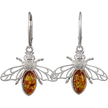 Sterling Silver /& Natural Baltic Honey Amber BUMBLE BEE Drop Earrings