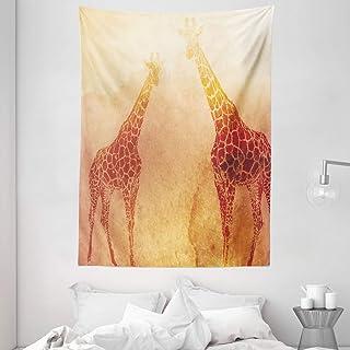 "Ambesonne Safari Tapestry, Illustration Tropic Giraffes Tallest Neck Animal Mammal in Retro Vintage Print, Wall Hanging for Bedroom Living Room Dorm, 60"" X 80"", Orange"